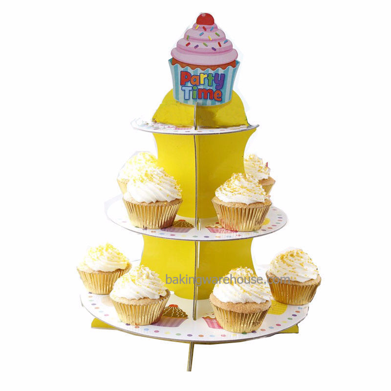 3 tier Cup cake board stand -Party Time