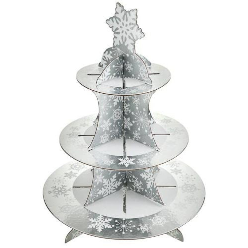 3 tier Cup cake board stand -X'mas silver snowflake