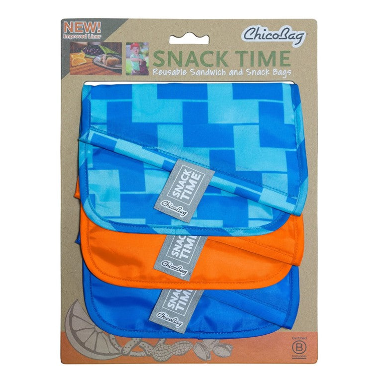 Reusable Sandwich and snack bag set of  3- blue Ladder , orange, blue