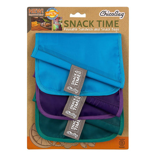 Reusable Sandwich and snack bag set of  3-Sky blue , purple, green