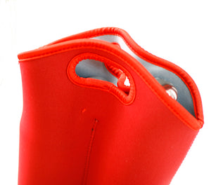 Neoprene Tote Bag Holds 2 Bottles -Red