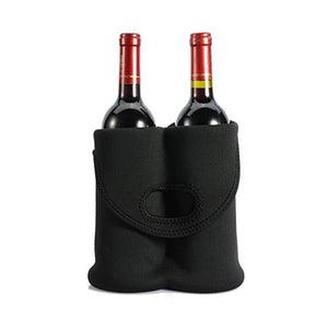 Neoprene Tote Bag Holds 2 Bottles -Black