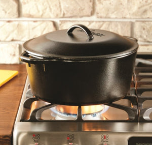 Lodge Cast Iron Dutch Oven with Dual Handles, 5-Quart