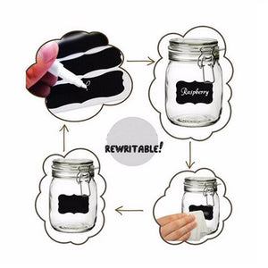 Reusable Adhesive Chalkboard Stickers for Jars and Bottles