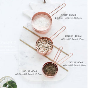 Copper Stainless steel Measuring cup 1/4-1cup