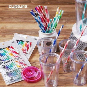Reusable & Unbreakable Color Striped Straws