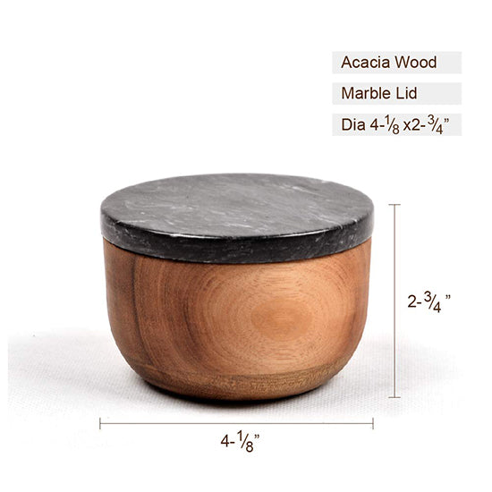 Wooden Salt Keeper with marble lid