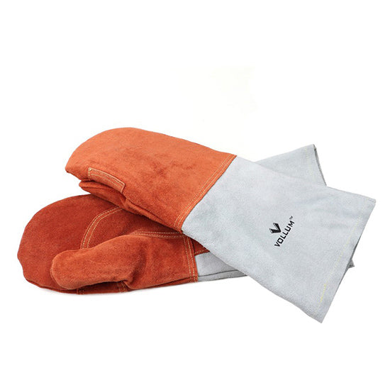 High Heat All Leather Oven Mitts - Orange 1 Pair