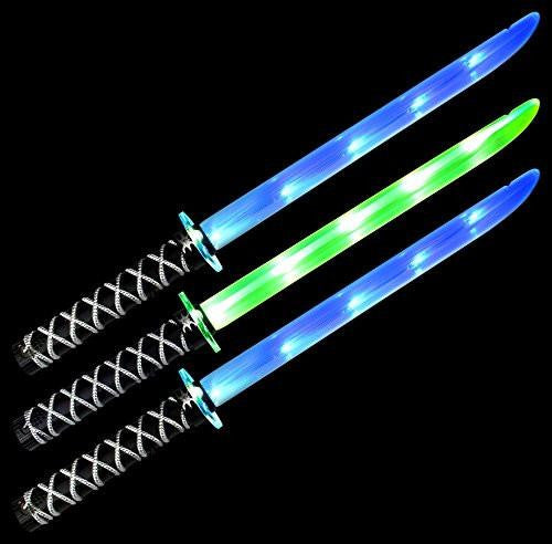 Set of 3 VT Ninja Samurai Katana Flashing LED & Clanging Sounds Party Favor Toy Light Up Sword Sabers (Colors May Vary)