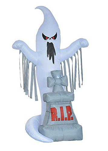 8 Foot Tall Halloween Inflatable Grave Scene with Ghost and Tombstone