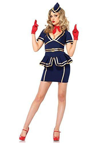 Friendly Flight Attendant Blue Dress Women's  Costume