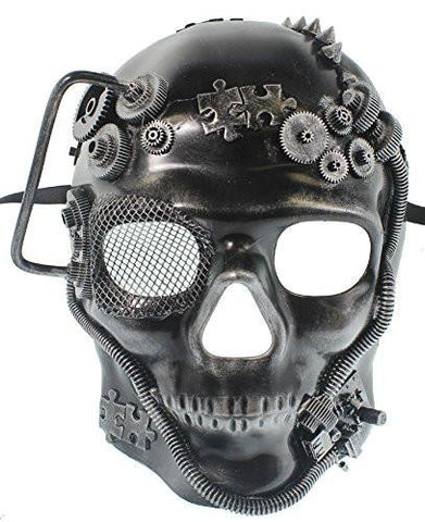 Image of Mens Steampunk Robot Skull Masquerade Mask
