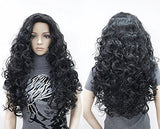 Long Hair Natural Curly Wavy Full Head Wigs Dark Brown
