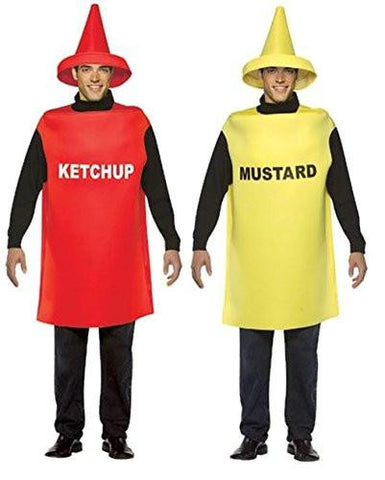 Ketchup and Mustard Bottle Adult Couples Costumes