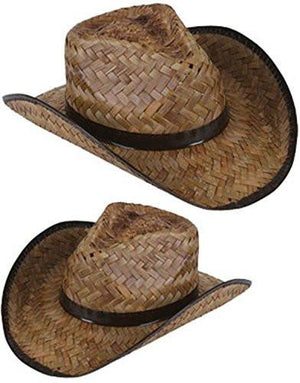 Men's Women's Stained Brown Woven Straw Cowboy Hat