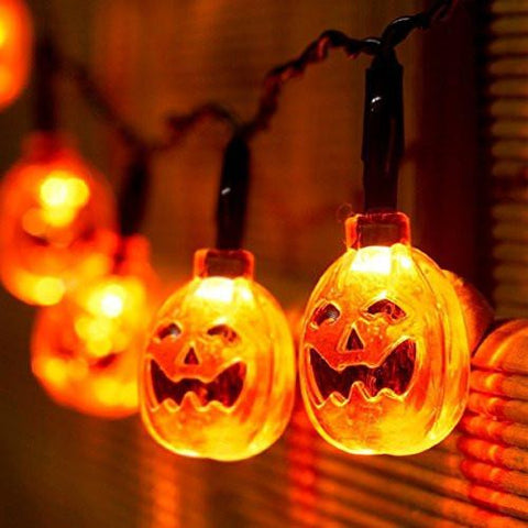 Battery Powered 3D Jack-O-Lantern Pumpkin 20 LED String Lights