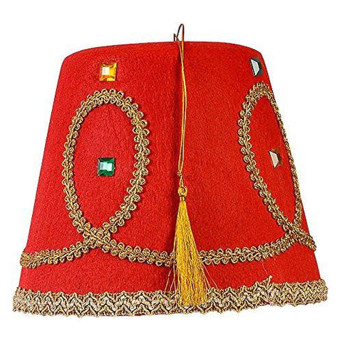 Red with Gold Tassel and Trimmings Hat
