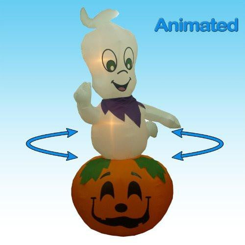 9 Foot Animated Halloween Inflatable Ghost on Pumpkin