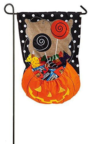 Image of Evergreen Burlap Halloween Candy Treat Garden Flag, 12.5 x 18 inches
