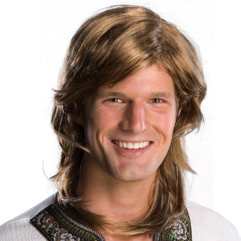 70's Guy Wig, Brown, One Size