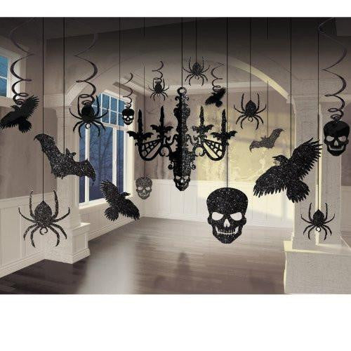 Spooky Glitter Paper Chandelier, Ravens, Skulls, Spiders, and Bats Decorating Kit (17 pieces)