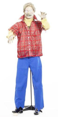 Life Size Latex Plaid Shirt Realistic Zombie Halloween Prop with Stand