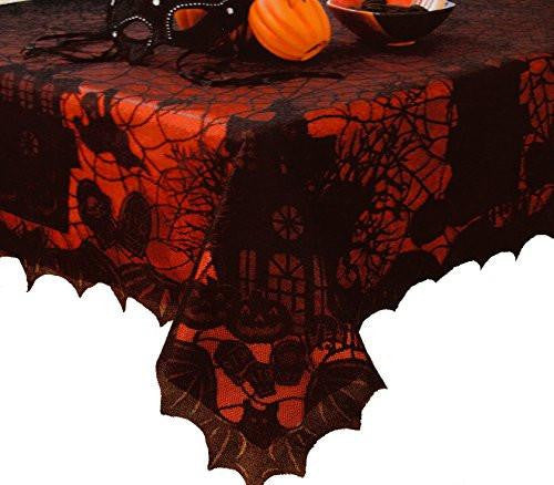 Halloween Lace Tablecloth with Vinyl Liner - 60
