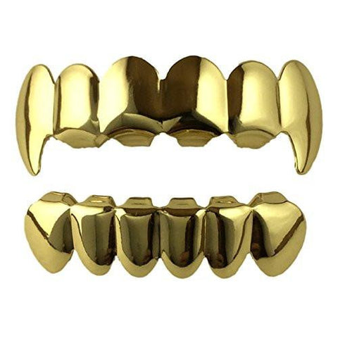14K Gold Plated Grillz Top & Bottom Fangs   2 EXTRA Molding Bars