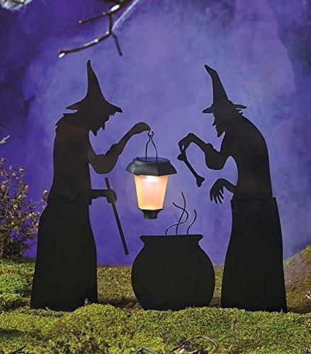 3 Piece Witch Stake Cauldron Pot With Solar Lighted Lantern