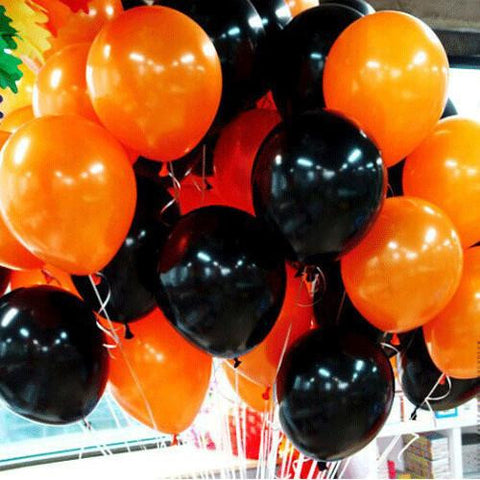 Image of High Quality 10 Inch Black And Orange Latex Balloons