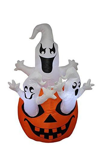 5 Foot Tall Halloween Inflatable Three Ghosts with Pumpkin Decoration