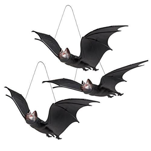 Realistic Squeaking Hanging Rubber Bats, (3 Pack)
