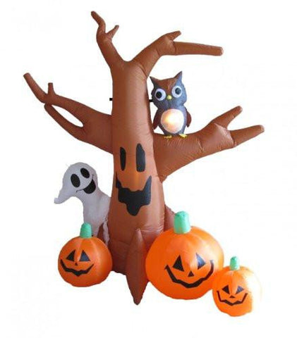 Image of 8 Foot Dead Tree with Owl, Ghost and Pumpkins