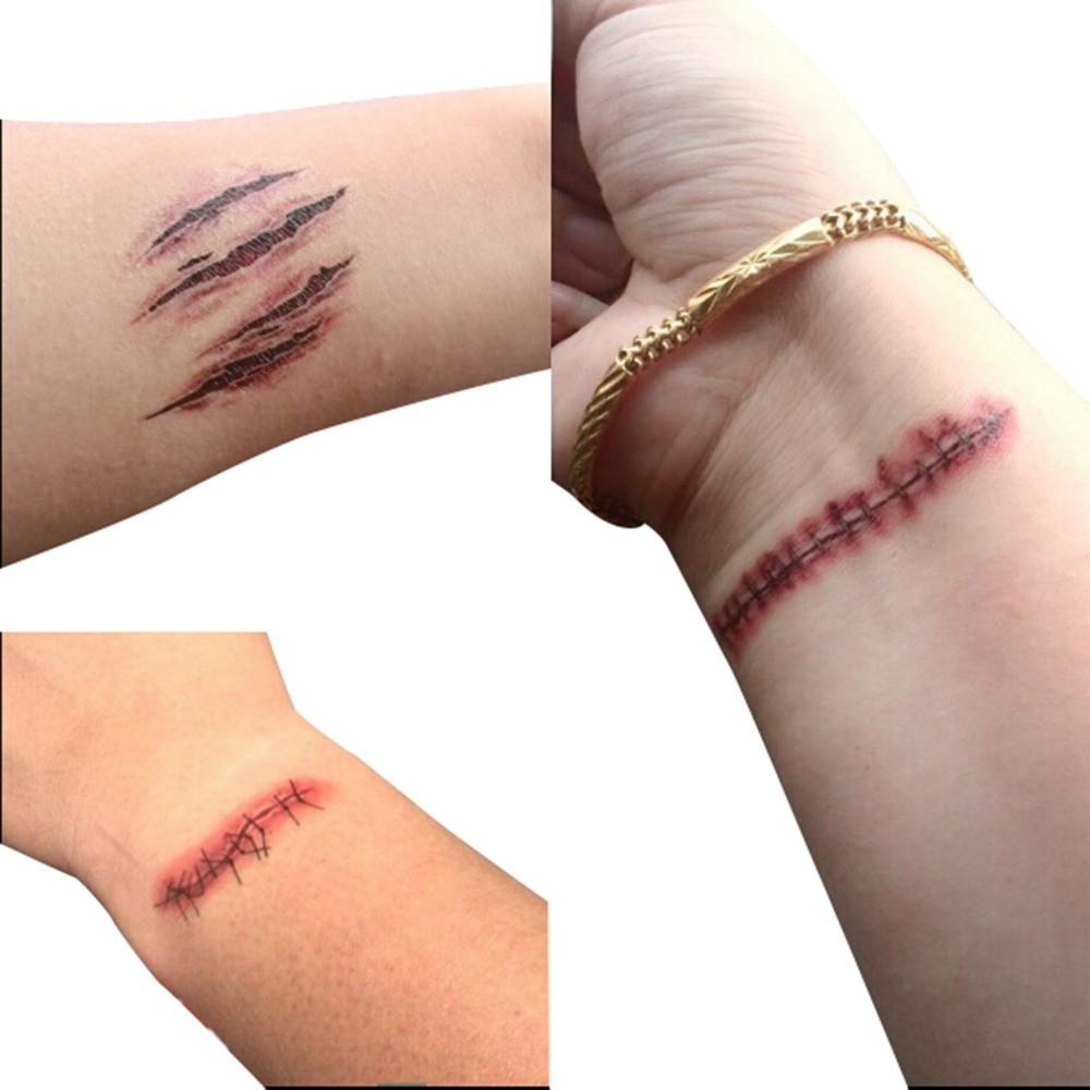 Waterproof Temporary Tattoo Sticker Halloween Terror Wound Scary Realistic Blood Injury Scar Fake False Tattoo Sticker