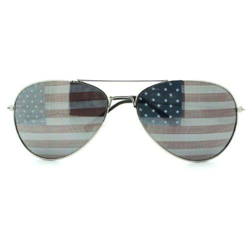 Patriot American Flag Inprint Lenses Silver Aviator