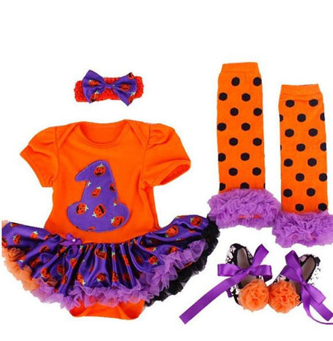 Image of Baby Girls' 4PCS 1st Halloween Hat Orange Costume