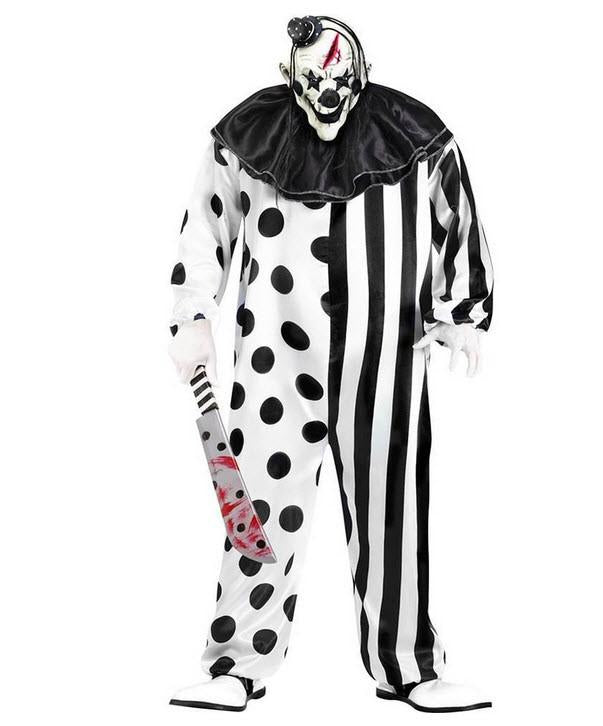 Evil Killer Clown Complete Halloween Costume Jumpsuit Black & White