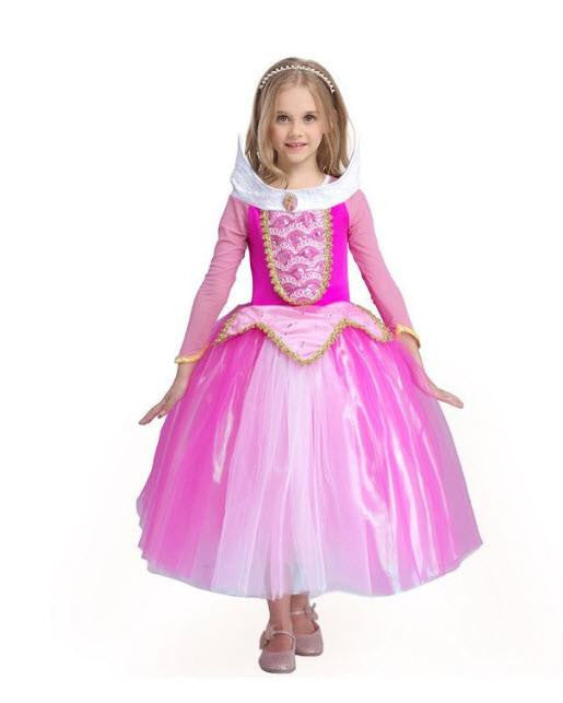 Girls Princess Aurora Dress Party Costume