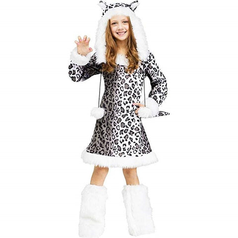 Girls Snow Leopard Animal Costume