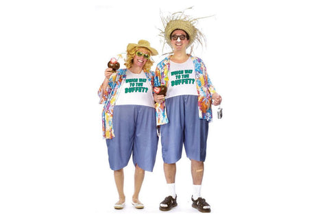 Hawaiian Vacation Costume Traveler Tourist Adult Fat Tropical Funny