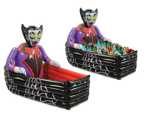 Inflatable Halloween Cooler Vampire and Coffin 48 Can Capacity