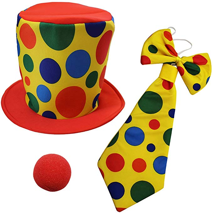 Jumbo Tie and Hat Clown Costume