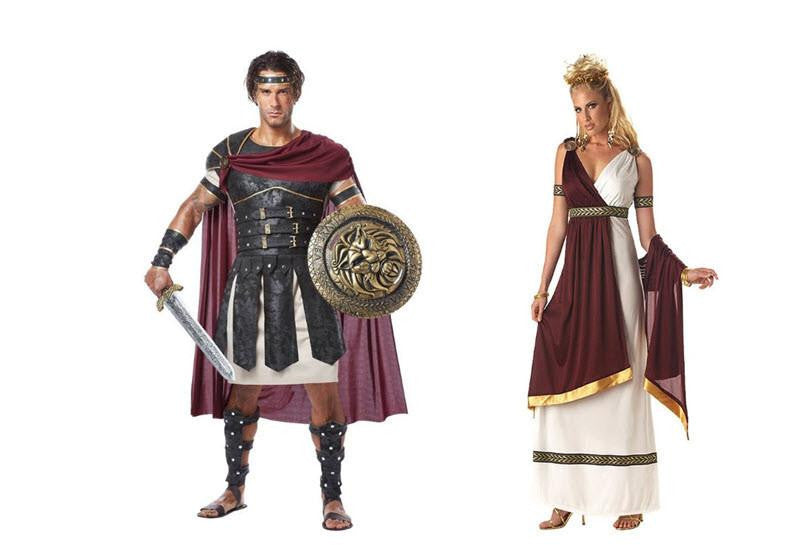 Men's Roman Gladiator & Women's Roman Empress Couples Costume