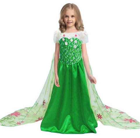 Princess Elsa Costume Party Lace Dress with Long Cape