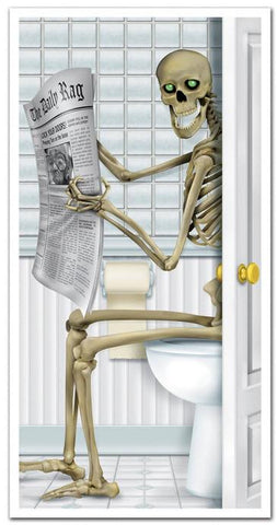 Skeleton Restroom Door Cover Party Accessory Tape Up Door