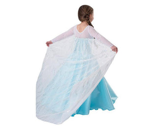 Snow Queen Princess Girls Satin Halloween Dress
