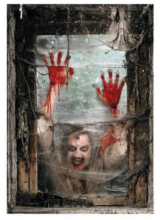 Zombie Window Banner Backdrop Plastic Halloween Party Accessory