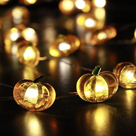 Harvest Pumpkin String Lights 10ft 40 LEDs Battery-powered