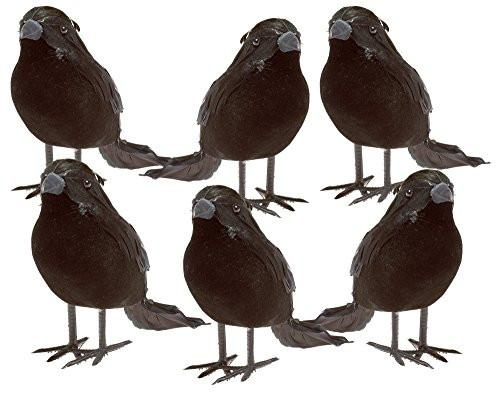 Halloween Black Feathered Small Crows - 6 Piece Raven Set