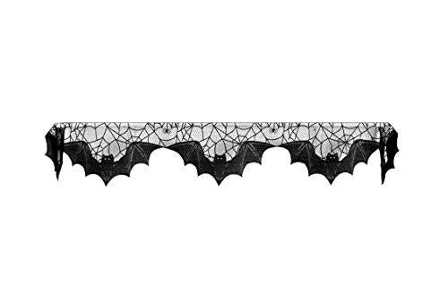 Lace Bats 20-Inch by 80-Inch Mantle Scarf, Black
